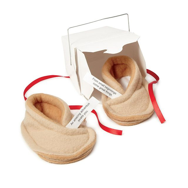 These Infant Fortune Cookie Booties give your tot a cushy step forward in luck's direction.