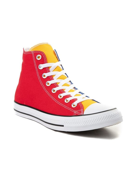 Rainbow Converse Color block High Top Canvas Blue Green Red Yellow Chuck Taylor w Swarovski Crystal Jewel All Star Sneakers Basketball Shoe