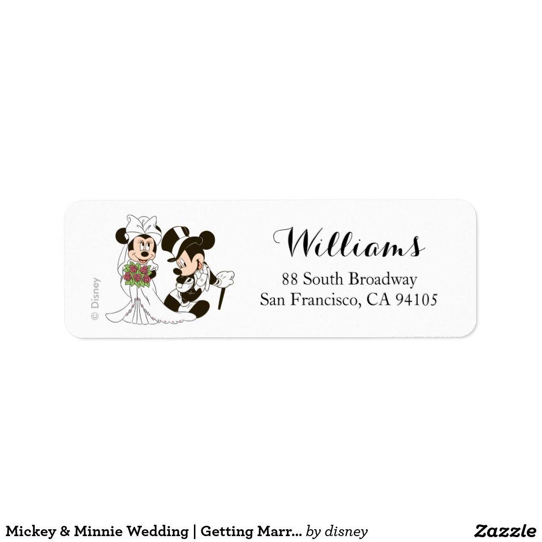 Mickey Minnie Wedding Getting Married Label