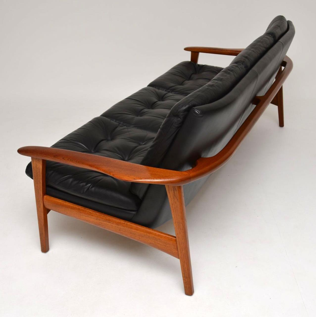 Danish Teak Retro Leather Sofa Vintage 1960s Vintage Sofa Retro Sofa Leather Sectional Sofas