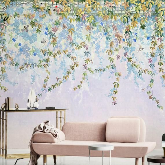 Oil Painting Hanging Vine Flowers Wallpaper Wall Mural Hand Painted