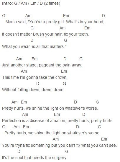 Beyonce Pretty Hurts Chords Capo 4 S H E E T M U S I C