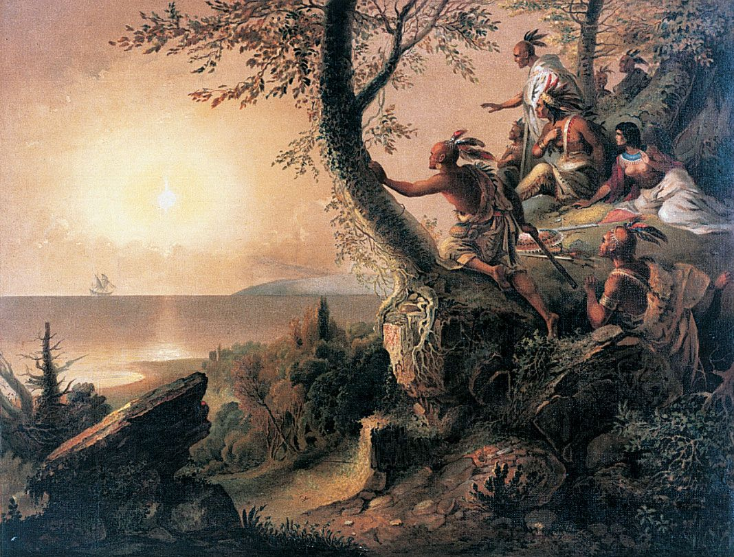 All hallows' eve falls on 31st october each year, and is the day before all hallows' day, also known as all saints' day in the christian calendar. Hudson's ship with Native Americans watching from shore