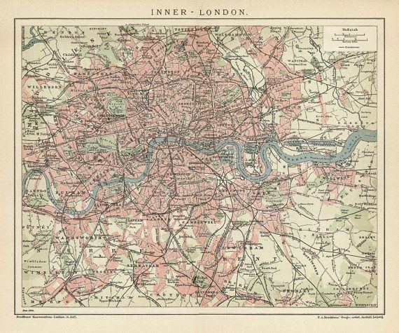 London Vintage Map Poster Old Map Print Of London Antique Map - Old map shop london
