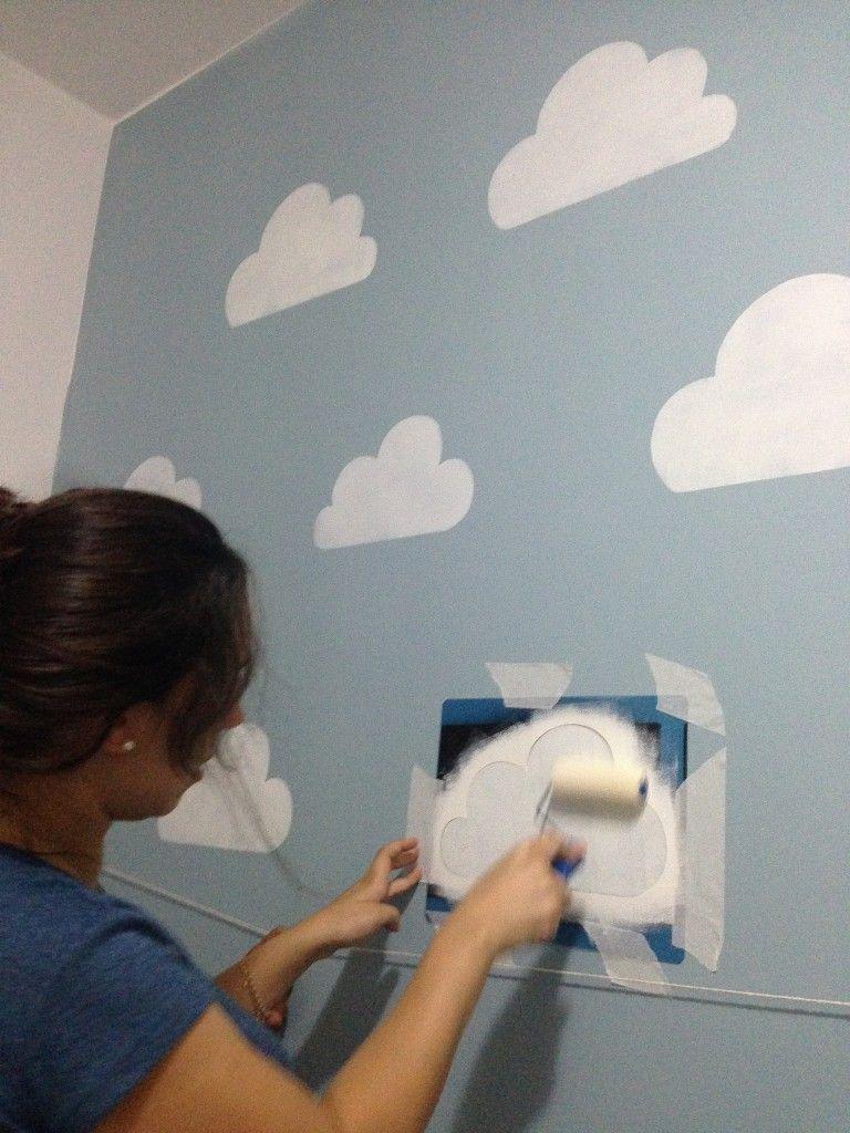 Wall painting stencils kids rooms o céu de laurinha  quarto de bebê  pinterest  cloud walls and babies