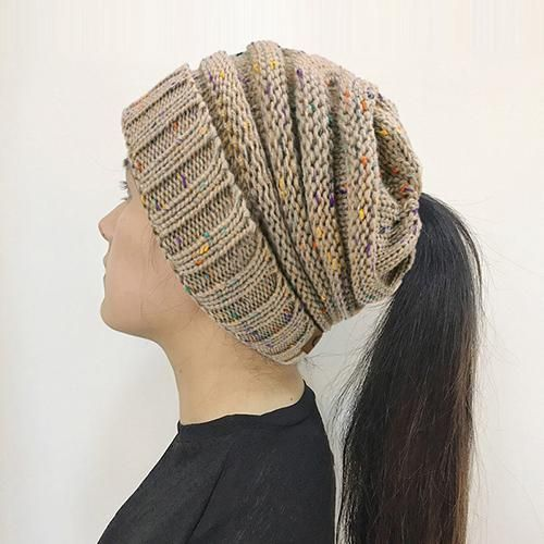 b7fd08ce4152c Bonjean Women Warm Hat Cc Warm Winter Knitted Chunky Soft Slouchy Beanie  High Bun Ponytail