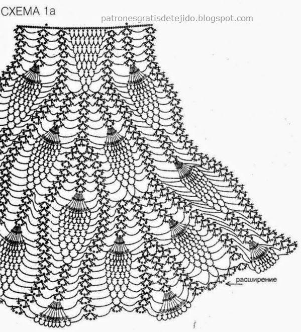 Patrones para tejer con ganchillo falda de dama punto piña | tejidos ...