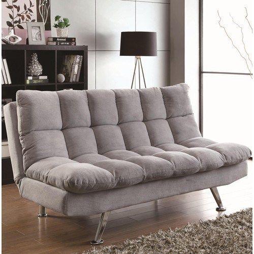 Contemporary Teddy Bear Fabric Comfy Sofa Bed Futon In Grey New Coaster Grey Sofa Bed Fabric Sofa Bed Sofa Furniture