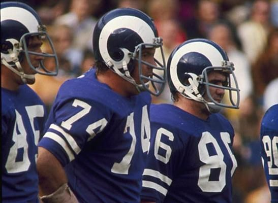 From The Mid 60 S Through The Early 70 S Seeing The Rams Blue Jerseys Was Just As Rare As Seeing The Cowbo Nfl Football Players Rams Football Los Angeles Rams