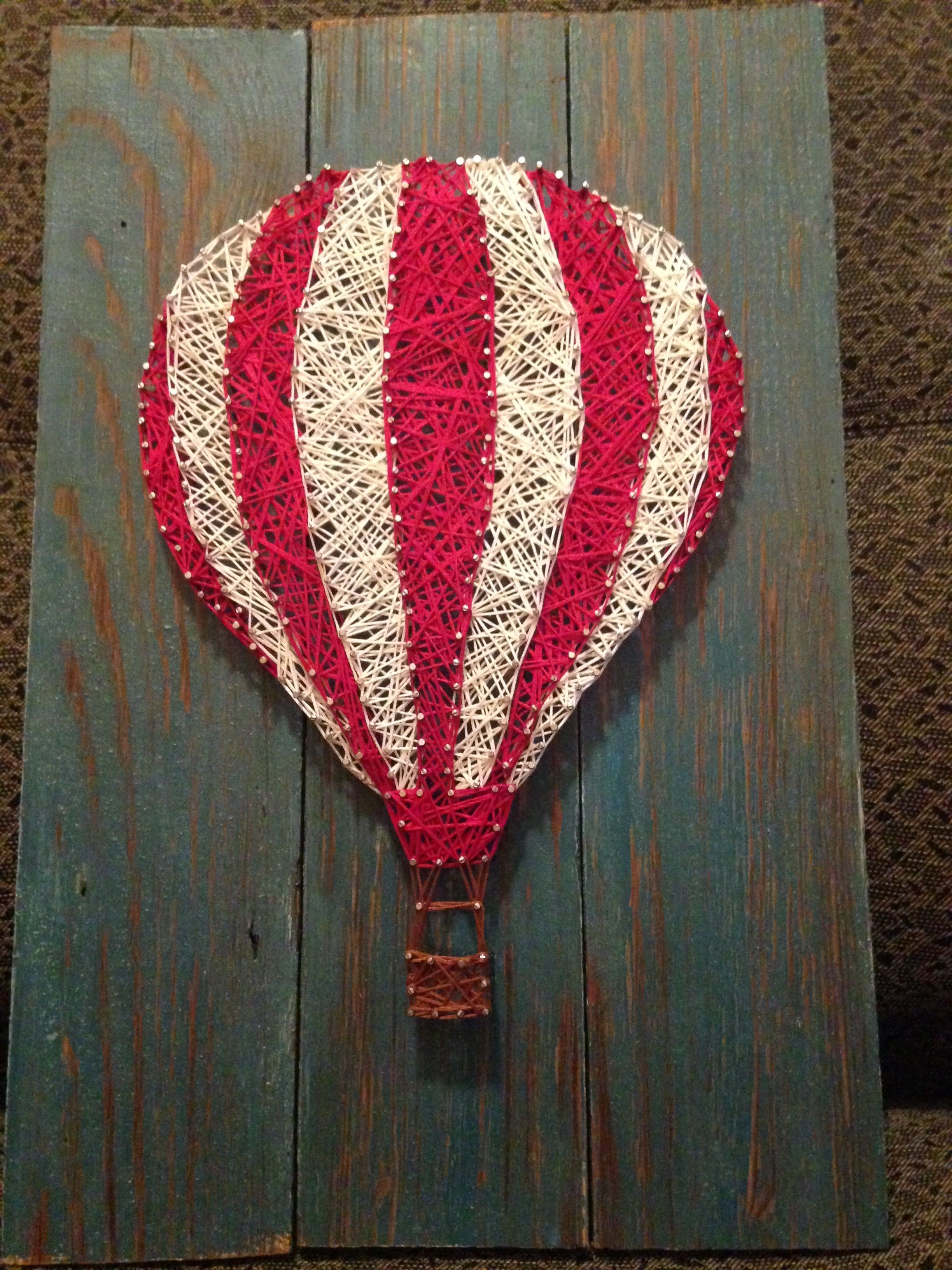 Uncategorized String Art Balloons made a hot air balloon with string art for my girlfriend using wood i found in the attic of barn