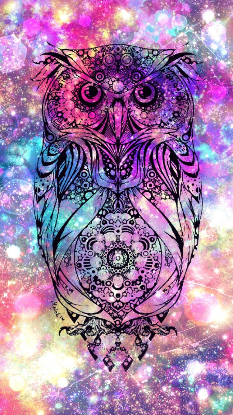 Cute Owl Galaxy Grunge Owl Wallpaper Owl Background Rainbow Dog