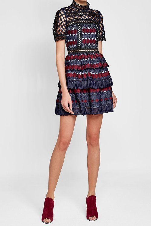 ecb01be849a3d Self-Portrait - Hexagon Lace Mini Dress | Products | Dresses ...