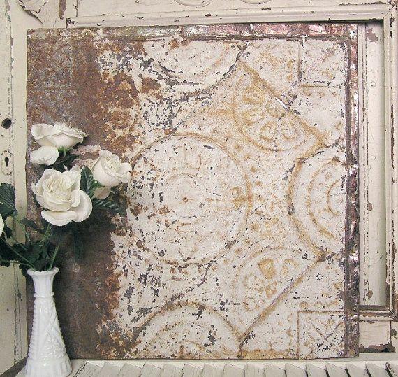 Vintage Tin Ceiling Tile 20x20 Framed Antique
