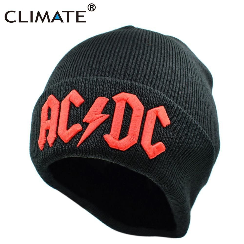 1ed425a4a71 CLIMATE Men Women Winter Warm Beanie Hat Rock ACDC AC DC Rock Band Warm  Winter. Visit