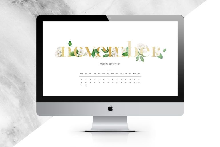 Download your free November Digital Calendar Free printables