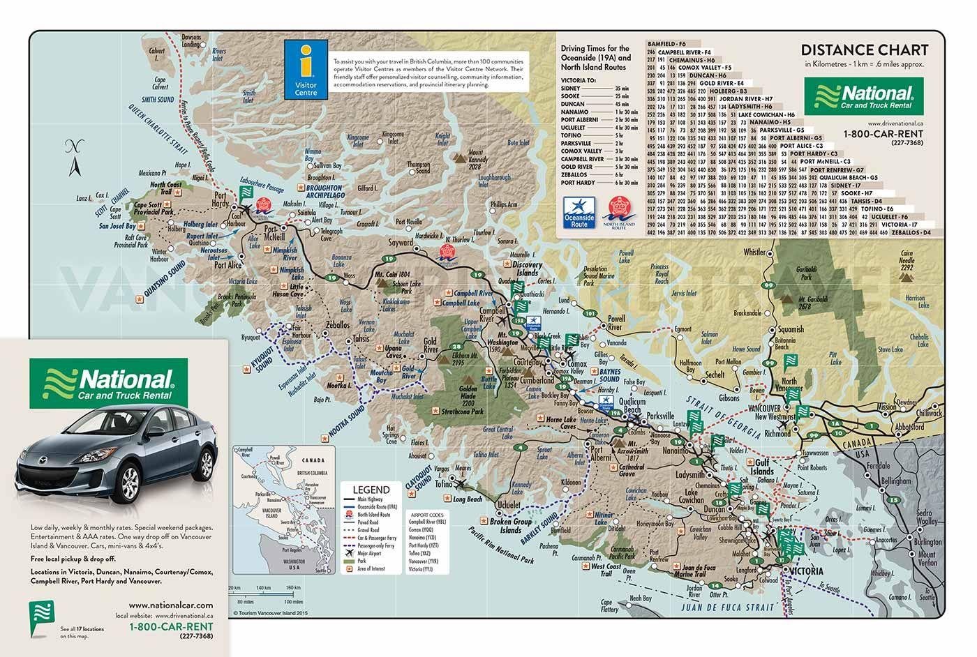 Map of Vancouver Island 2016 Getaway Map