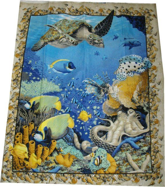 Sea Turtle Ocean Fish Aquarium Quilt Panel Fabric Sea Quilt Beach Quilt Fabric Fish