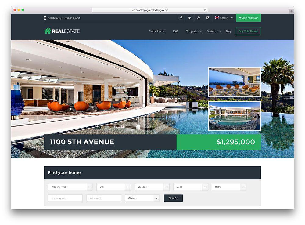 Wp Real Estate 7 WordPress Theme Website Templates