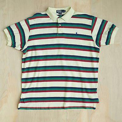 159a5964e Vtg 90s USA Made POLO Ralph Lauren Striped polo Yellow Shirt Size L ...