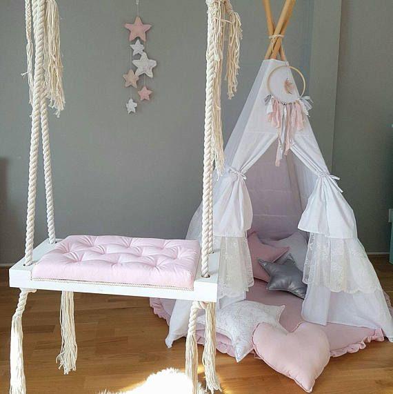 Handmade Wooden Indoor Outdoor Swing Babyuniquecorn With Images Wooden Baby Swing Indoor Kids Swing Girl Room