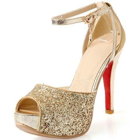 e5ec15eb5eb 2017 New Fashion Sexy Women Sandals Rhinestone Wedding Shoes Platform Pumps  Red Bottom High Heels Shoes Gold Black Silver