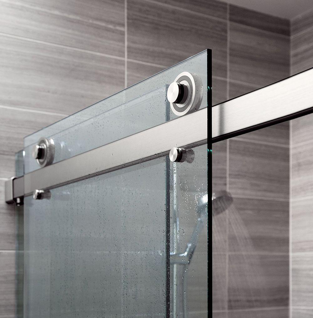 Design For High Use Environments The Rorik Frameless Glass Sliding Door Shower System Has Been Designed Sliding Shower Door Shower Door Hardware Shower Doors