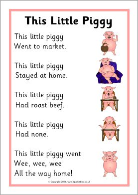This Little Piggy rhyme sheet (SB11044) - SparkleBox ...
