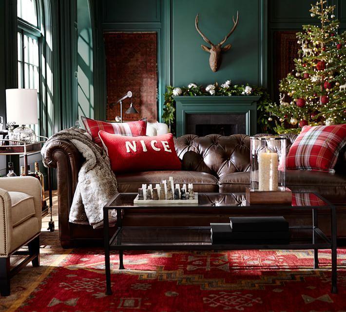 Chesterfield Leather Sofa Pottery Barn Furniture Decor