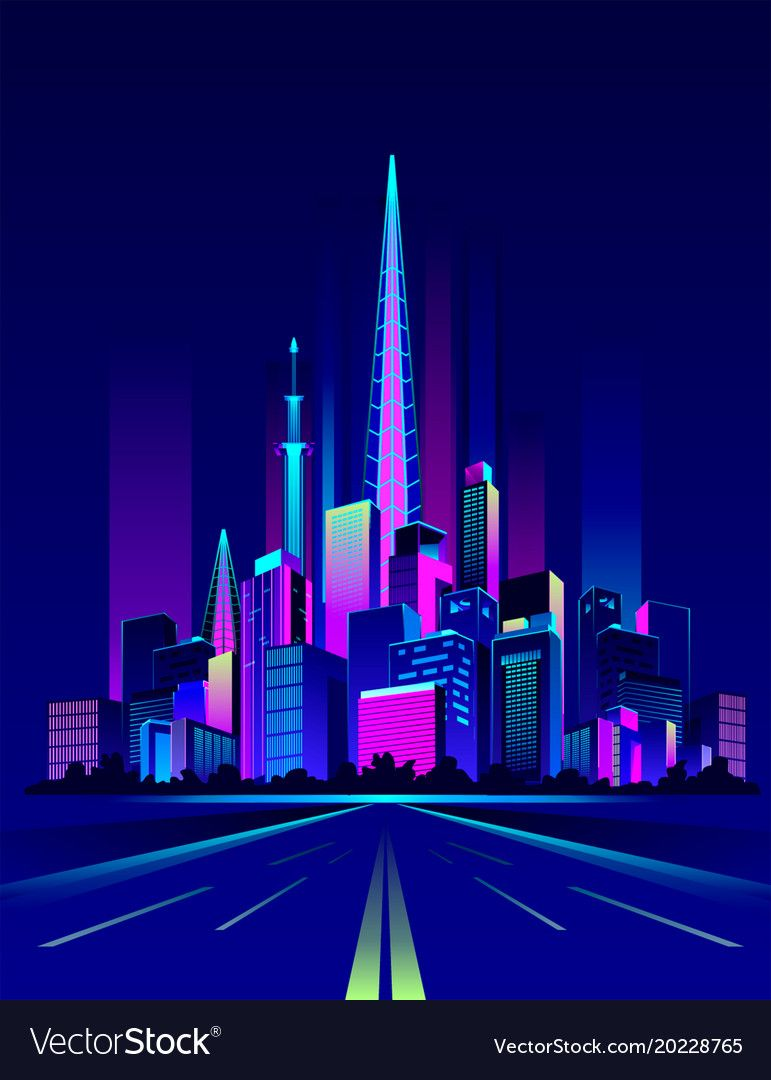 Night Neon City Vector Image On City Vector City Neon