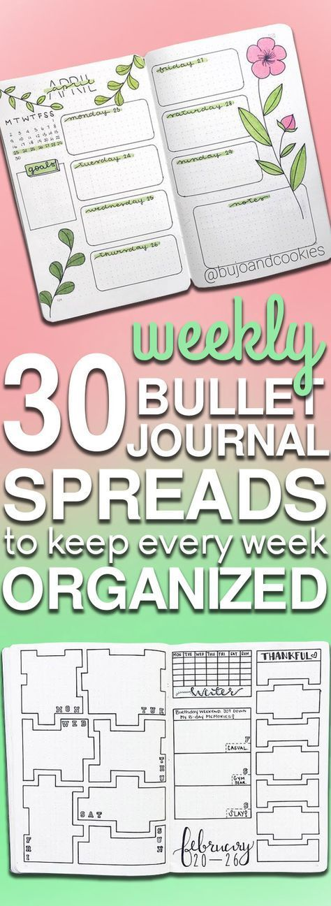 30 Bullet Journal Weekly Spread Ideas To Organize Your Entire Week #bulletjournalideas