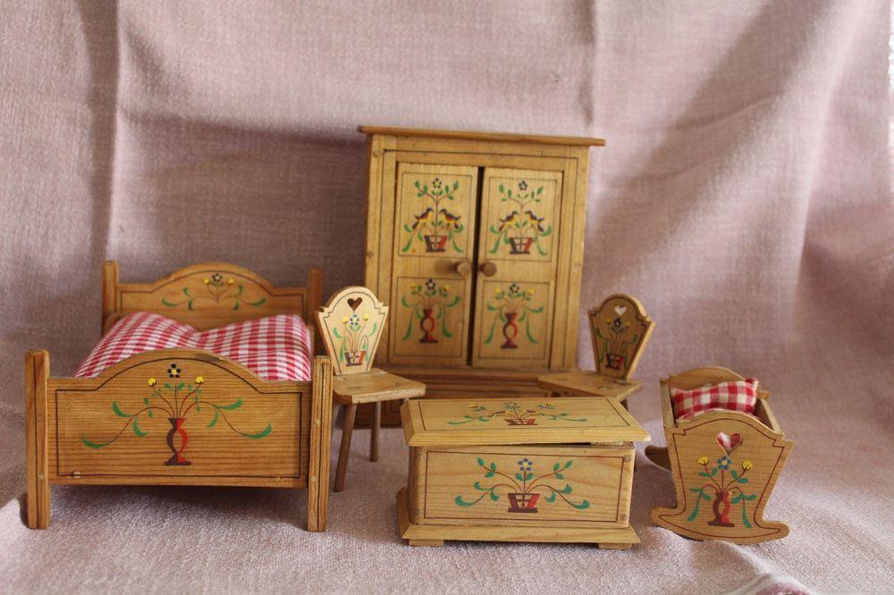 sch ne alte puppenstuben m bel 1945 1950 ebay folk bauernm bel for the dollhouse. Black Bedroom Furniture Sets. Home Design Ideas