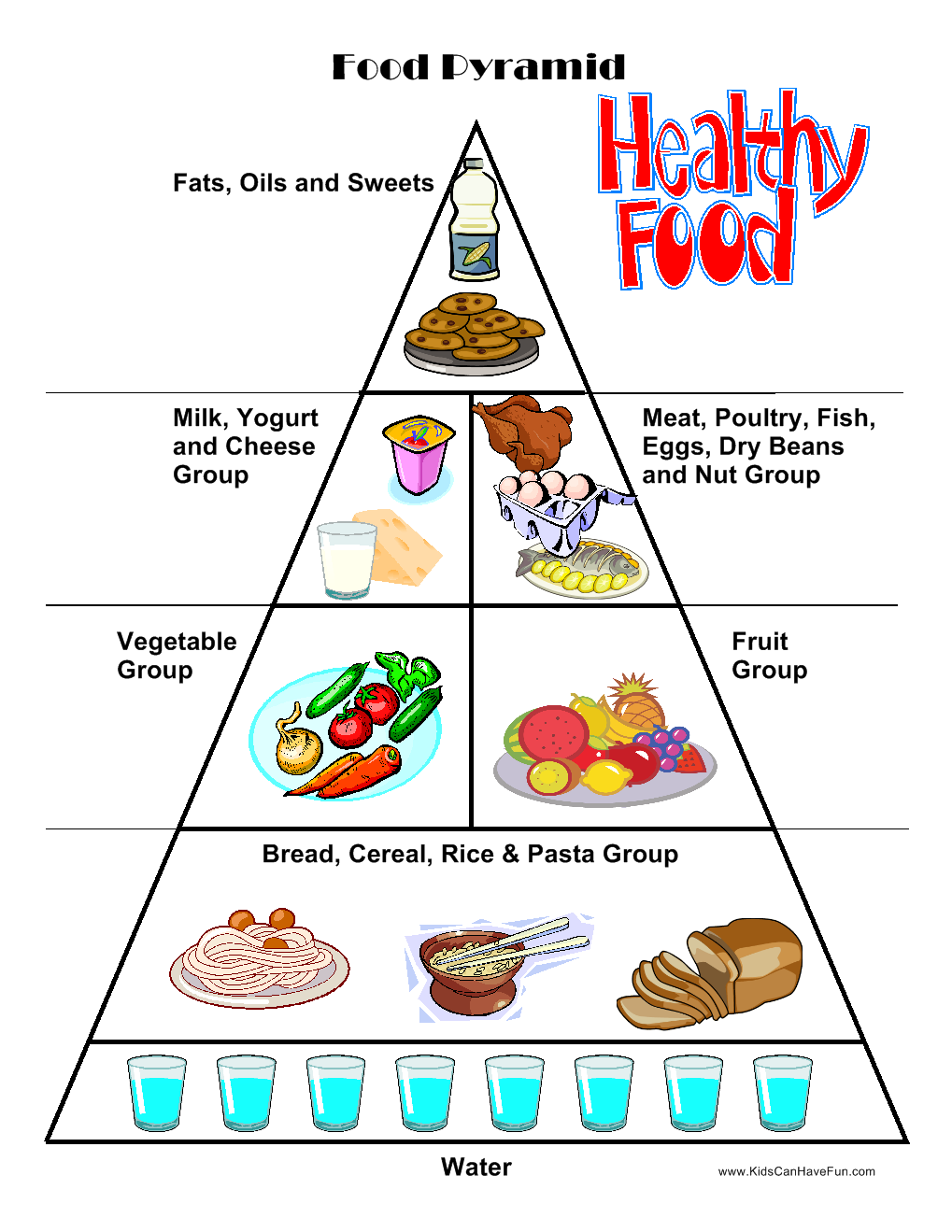 Food Worksheets Cut & Paste Activities Food Pyramid