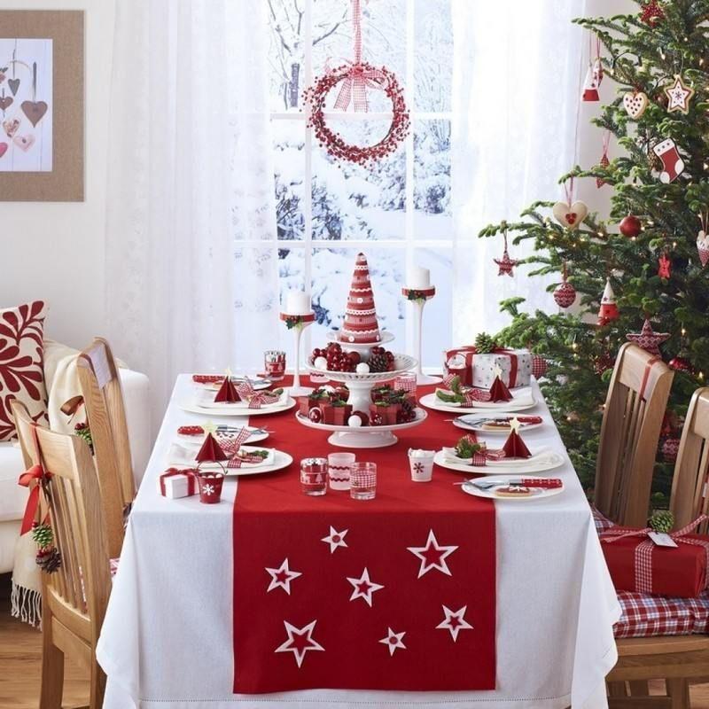 Déco table Noël rouge et blanc   50 idées qui unifient le moderne