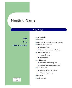 sample agenda for a business meeting