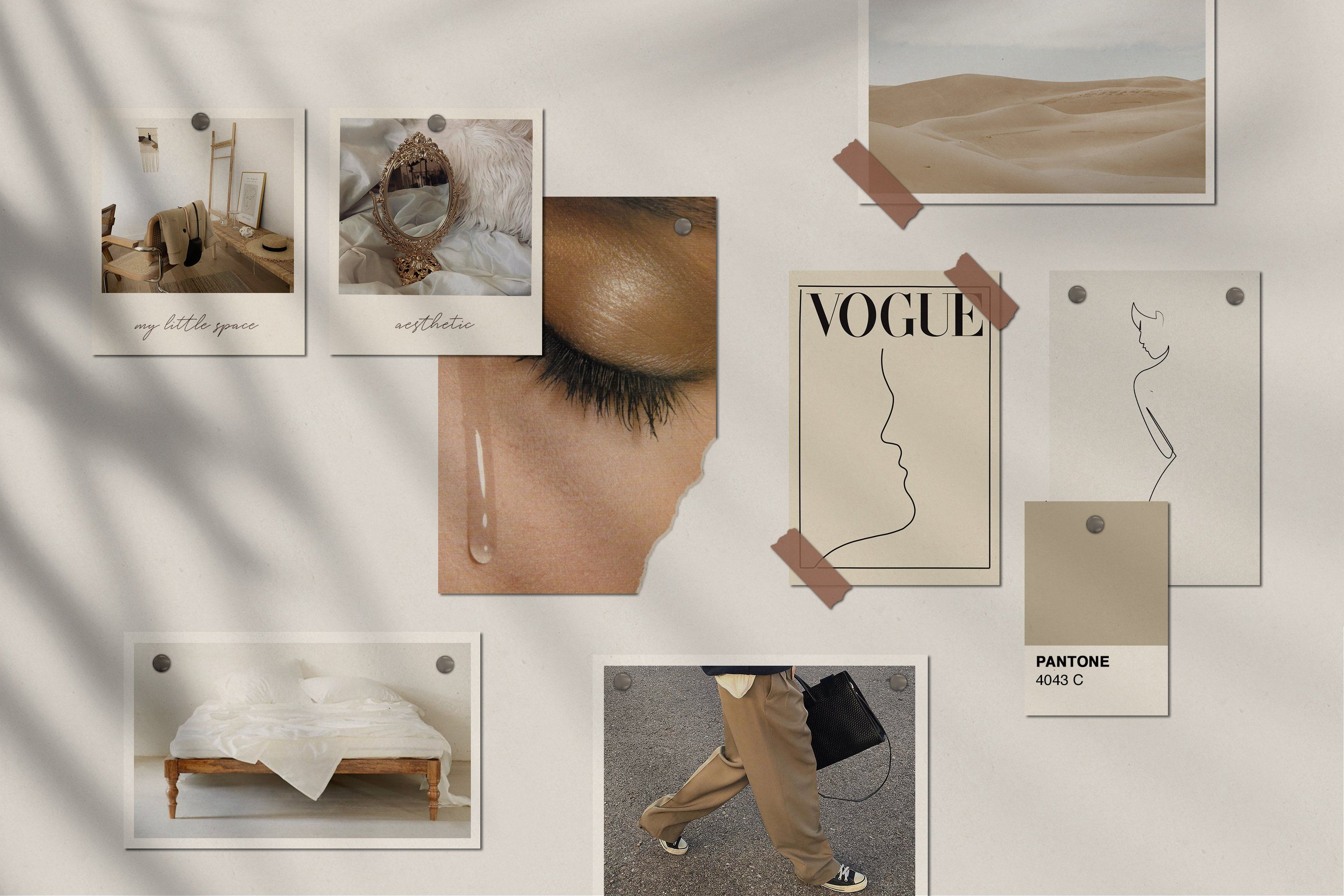 beige aesthetic background collage laptop