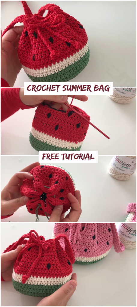 Crochet Summer Bag - Watermelon Bag - Crochetopedia