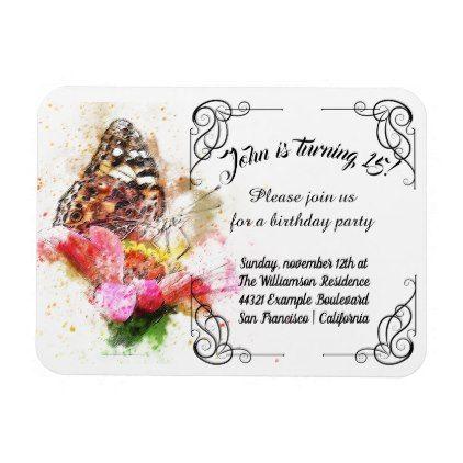 Vintage flower birthday party invitation magnet filmwisefo Choice Image