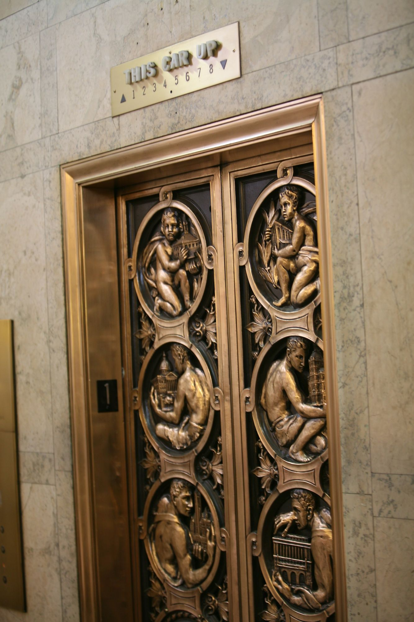 Bronze elevator doors in the city county building pittsburgh pa