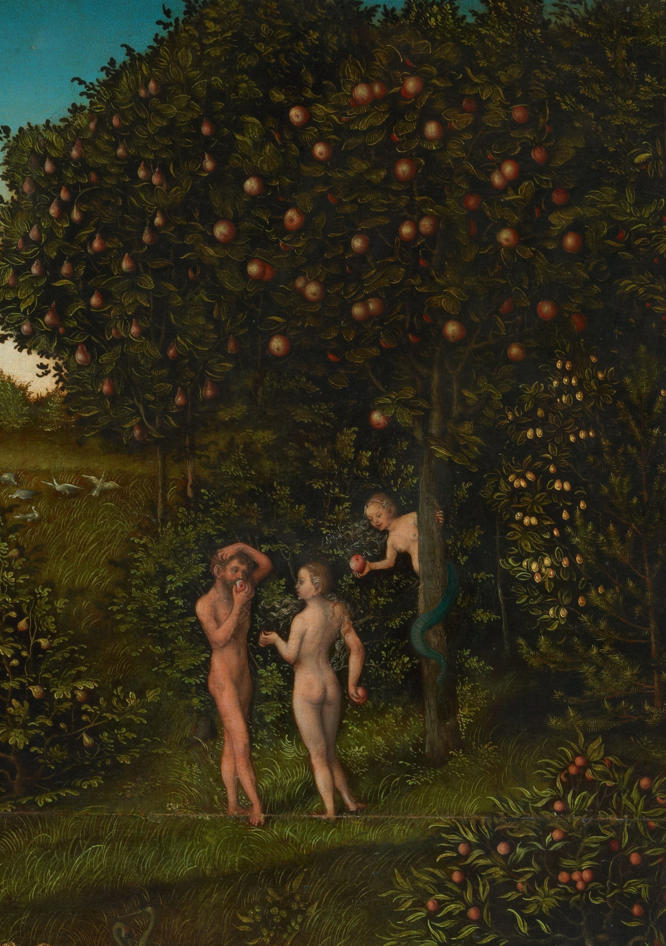 The Fall of Man by Lucas Cranach, a 16th-century German depiction of Eden, with the tree of life (left) and the tree of the knowledge of good and evil