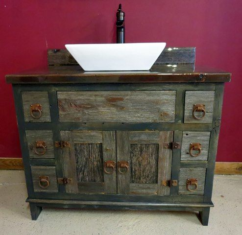 Antique Weathered Gray Barnwood Vessel Style Bathroom Vanity All Prices For Vanities Start At 24 Inches Without A Top If Bathroom Vanity Bathroom Red Vanity