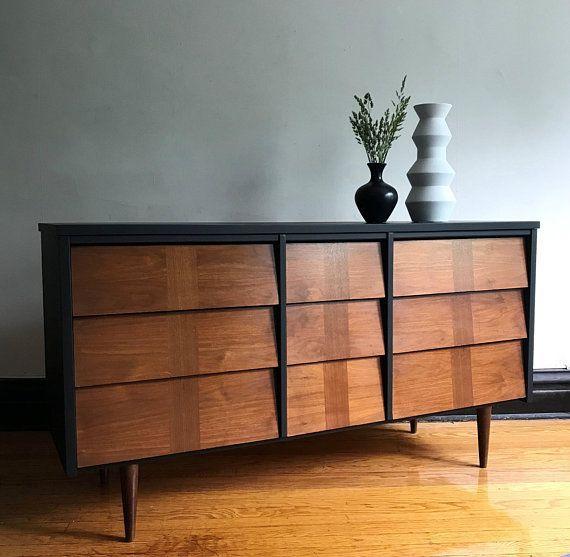 Best Black And Wood Mid Century Modern Dresser Refinished Mcm 400 x 300