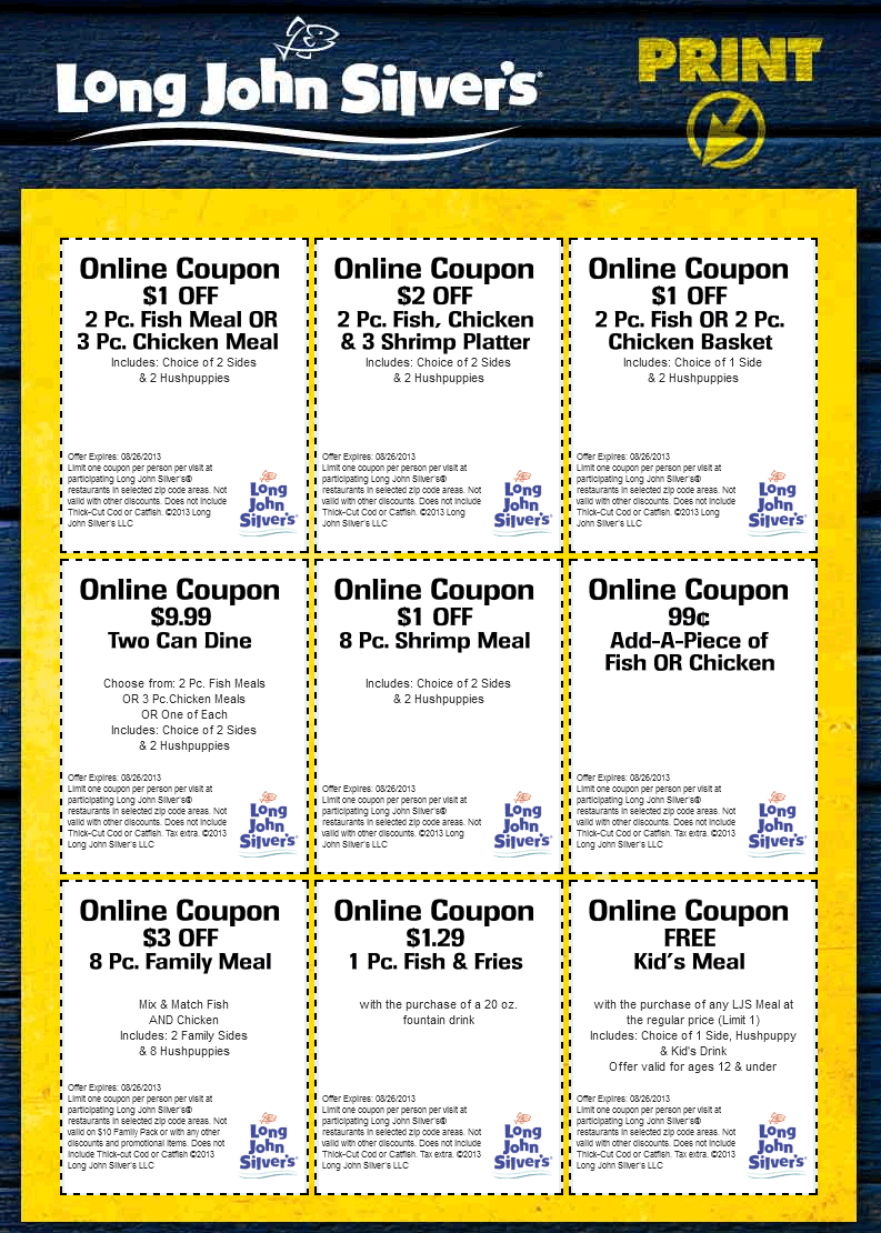 graphic regarding Long John Silvers Printable Coupons identify Pinned August 3rd: Absolutely free children supper, couple of dollars off yours