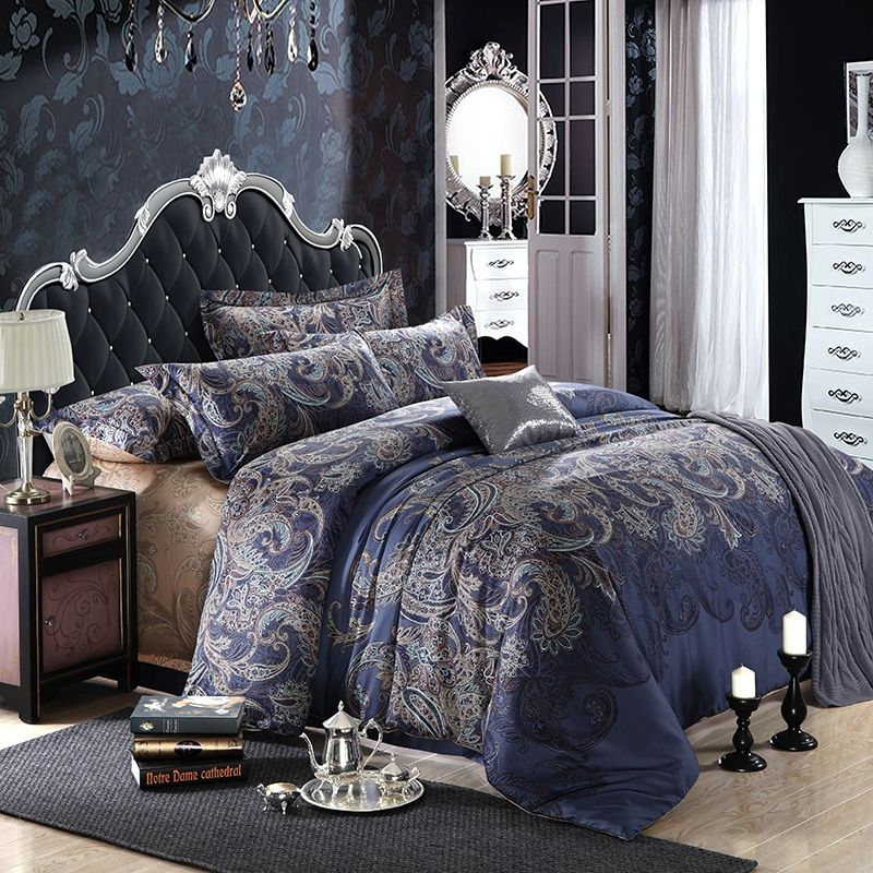 Dark Comforter Sets Modern Classic Bedroom Design 3 Pieces Dark Color Soft King Comforter Set: Not Avail In King Dark Blue And Grey Shabby Chic