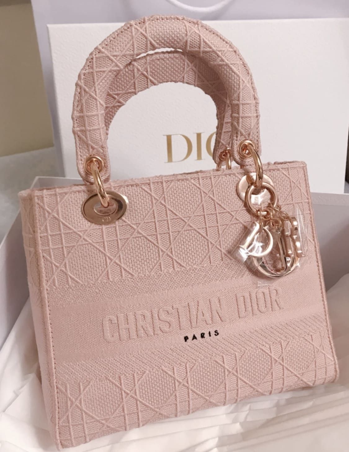 Lady dior in pink embroidered canvas
