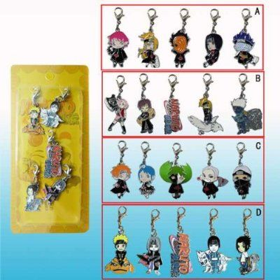 Naruto Straps or Charms, 4 Sets Design One Set Randomly Picked 5 Pcs Per Set Clearance!:Amazon:Toys Games