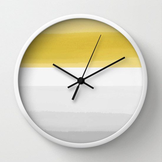 Yellow Grey Wall Clock Abstract Ombre Striped By Hlbhomedesigns Grey Wall Clocks Wall Clock Yellow Wall Art