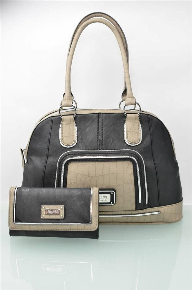 ab9e5999db99 Guess Purse and Wallet Set Black   Beige Hobo Bag Satchel Matching Clutch  NWT  Guess  TotesShoppers