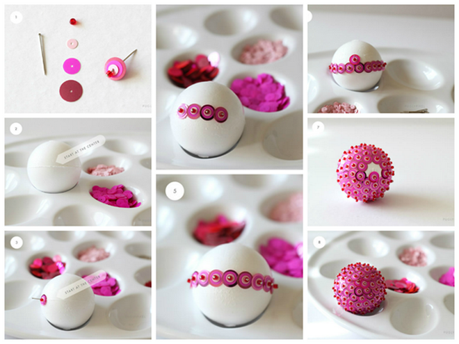Styrofoam Ball Decorations Alluring Styrofoam Ball Decorated With Pink Sequins  Vánoce  Pinterest Design Inspiration