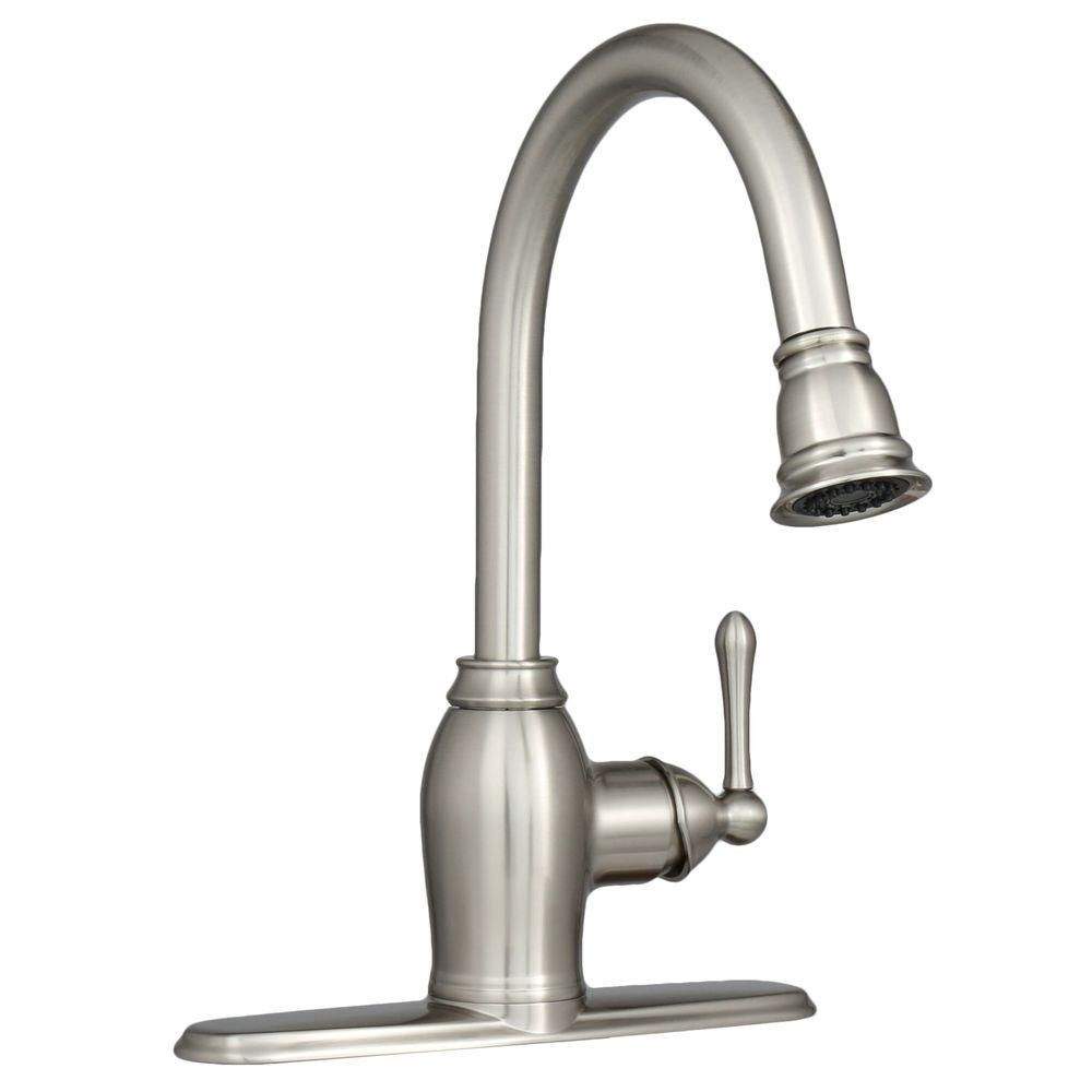 Brushed Nickel Kitchen Faucet With Sprayer Island Cover Ez Flo Metro Collection European Flair Single Handle Pull Out In
