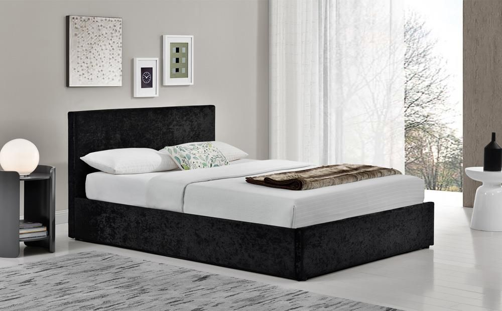 Steel Crushed Velvet Fabric End lift Ottoman Storage Bed 4ft Small Double